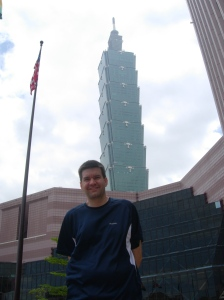 Dave outside Taipei 101, world's tallest building