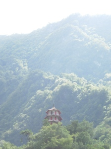 A temple high up on the mountainside